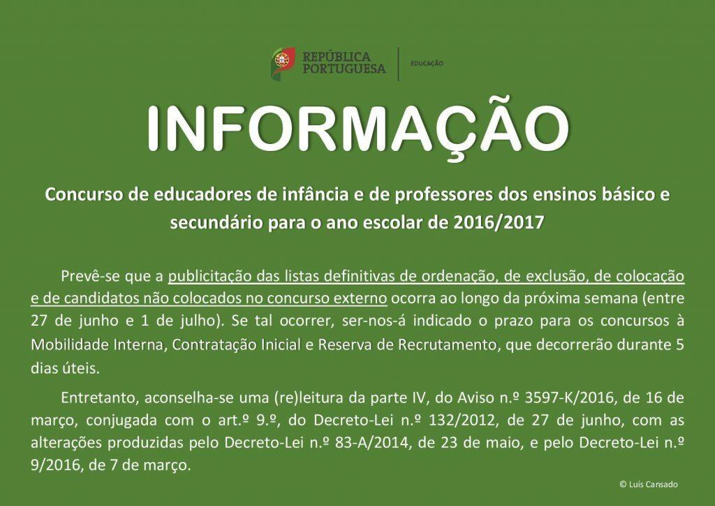 Informação Concurso de Professores