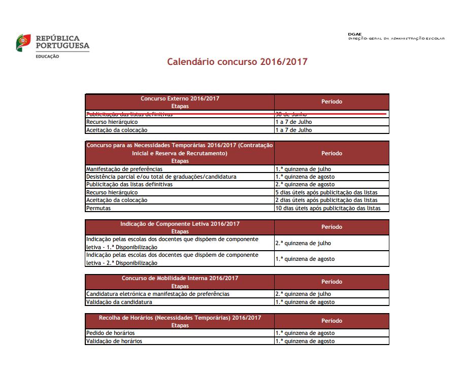 Calendário Concurso 2016-2017 (atualizado)