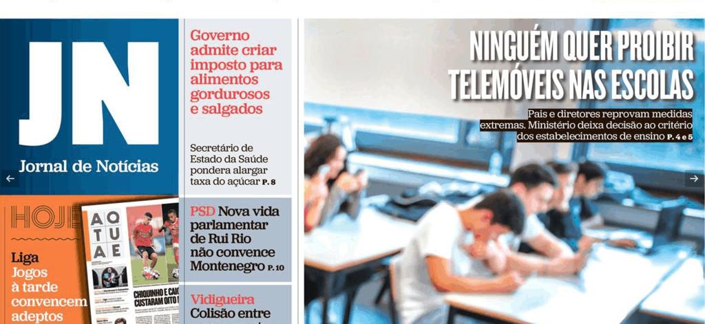 Capa do Jornal de Notícias - 2/11/2019