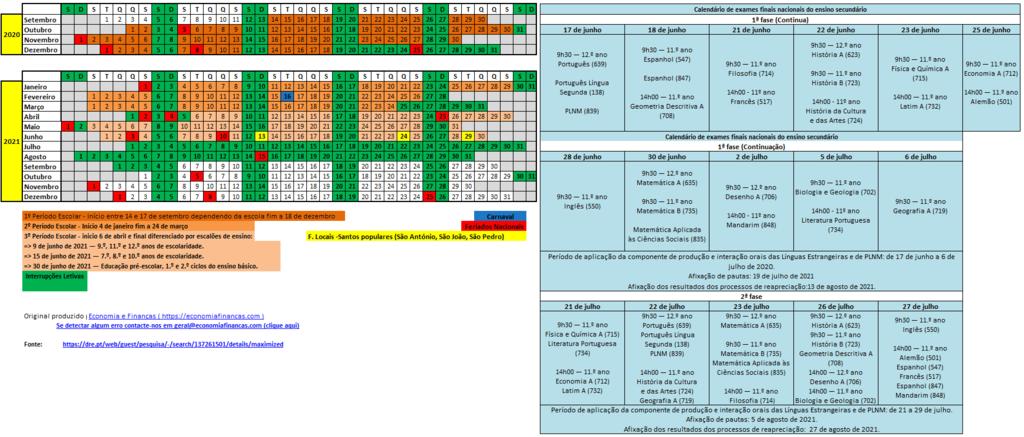 Calendário Escolar 2020/2021 Em Excel | ComRegras